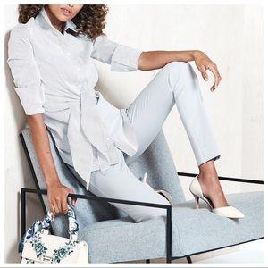 White Tie Front Poplin Shirt